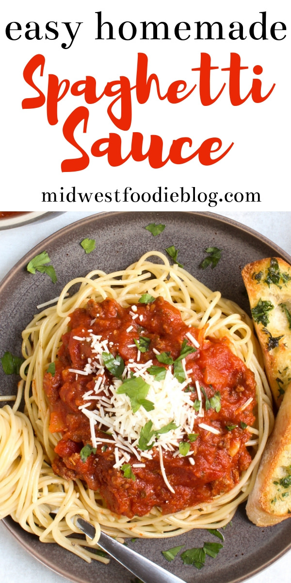 The Very Best Homemade Spaghetti Sauce   Midwest Foodie   This classic meat sauce pairs best with good old fashioned spaghetti noodles. A delicious traditional meal your family will love! #midwestfoodie #meatsauce