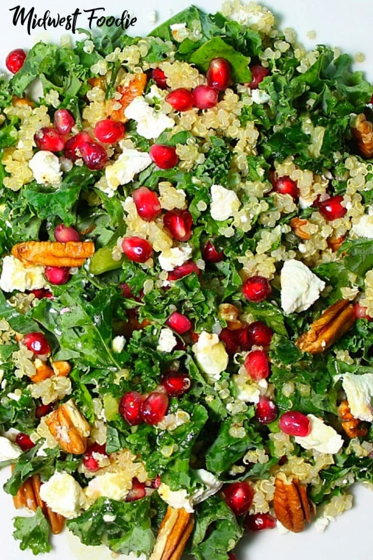 Kale Salad with Goat Cheese, Pecan and Pomegranate | midwest foodie | This kale salad is loaded with goat cheese, toasted pecans and fresh pomegranate seeds. The perfect meal prep for your busy work week!