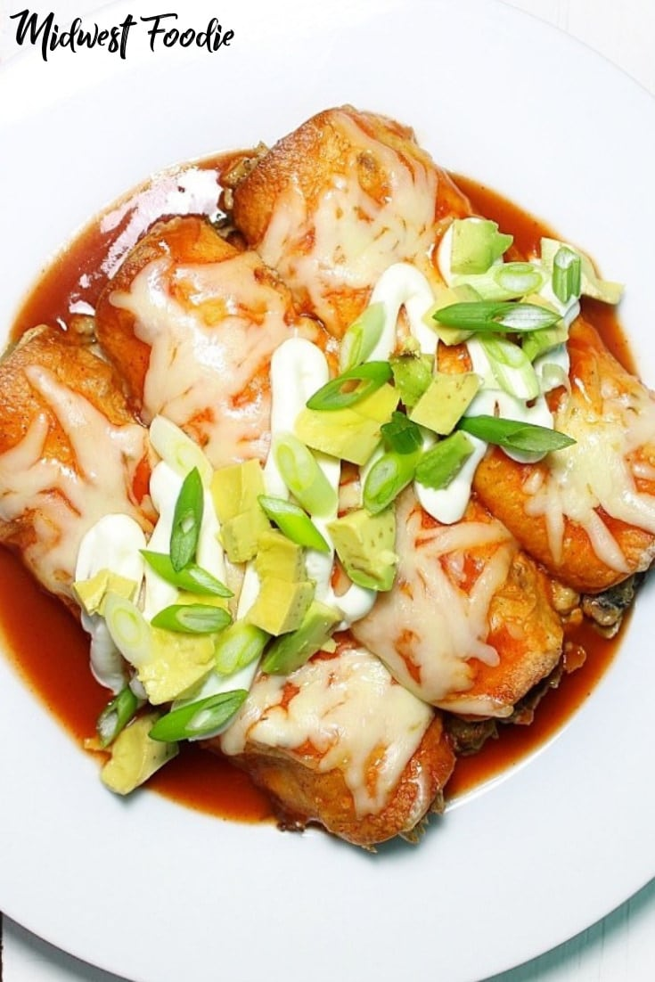 The Easiest Vegetarian Enchiladas -- These veggie enchiladas are loaded with protein, fiber and fresh flavors! Your family won't even miss the meat, I promise. They are SUPER easy to prepare and the leftovers taste even better the next day! #midwestfoodie #mealprep #healthy #family #dinner #quick #simple #easy #Mexican