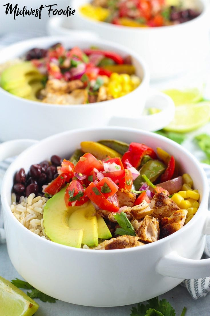 Easy Meal Prep Chicken Fajita Bowl | Midwest Foodie