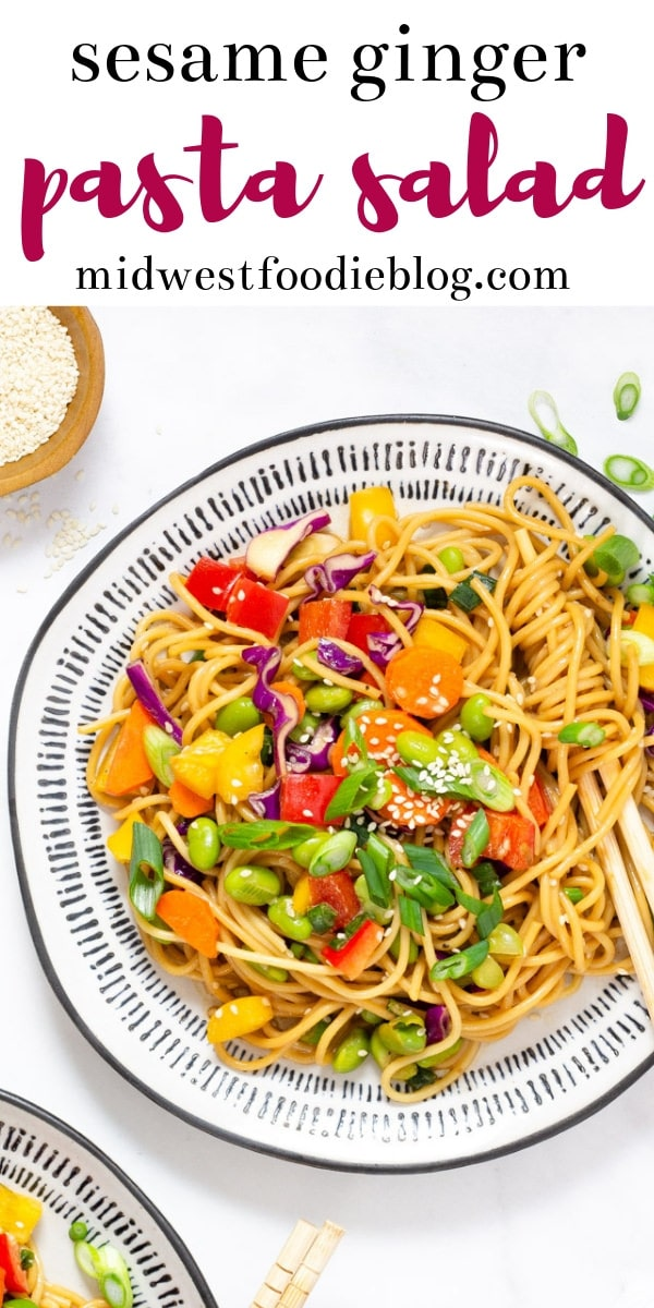 Vegan Sesame Ginger Pasta Salad | Midwest Foodie | This vegan salad is loaded with fresh vegetables and homemade dressing for an easy, healthy take on a classic Asian pasta salad.  #midwestfoodie #healthy #mealprep
