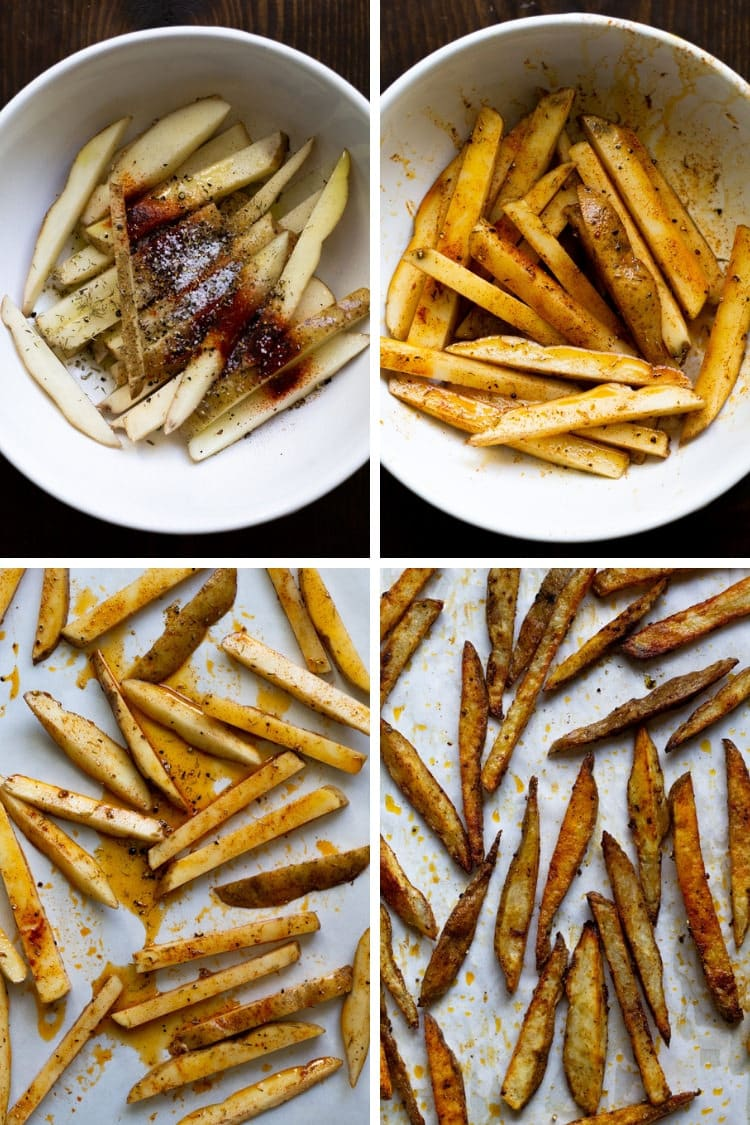 Collage of 4 photos showing the fries being seasoned, tossed with seasoning laid on a baking sheet and baked on a baking sheet