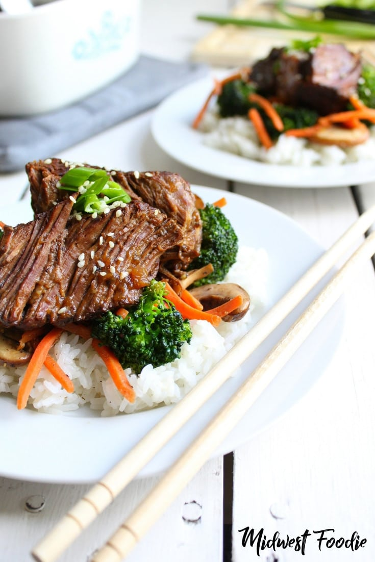 Slow Cooker Asian Braised Beef | Midwest Foodie | This Asian beef crock pot dinner is a perfect weeknight meal for your family. Much tastier than take out and a lot easier on the wallet. Pair with sauteed veggies and rice for a complete and balanced family dinner! #midwestfoodie #familydinner #weeknight #meal