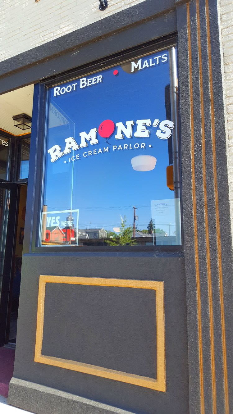 The store front of a local ice cream parlor downtown called ramones