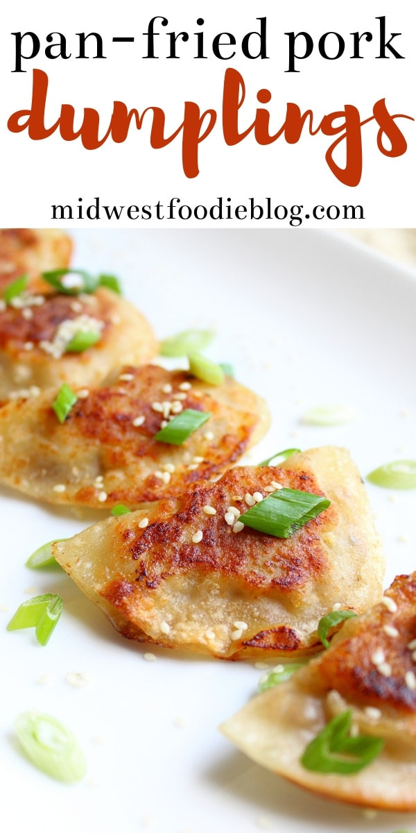 Pan Fried Pork Dumplings | Midwest Foodie | These pork dumplings are filled with fresh veggies and ground pork, then pan fried and steamed to give you the perfectly crisp, yet tender texture. #midwestfoodie #easy #appetizer #familydinner #simple #recipe #partyfood #gamedayeats
