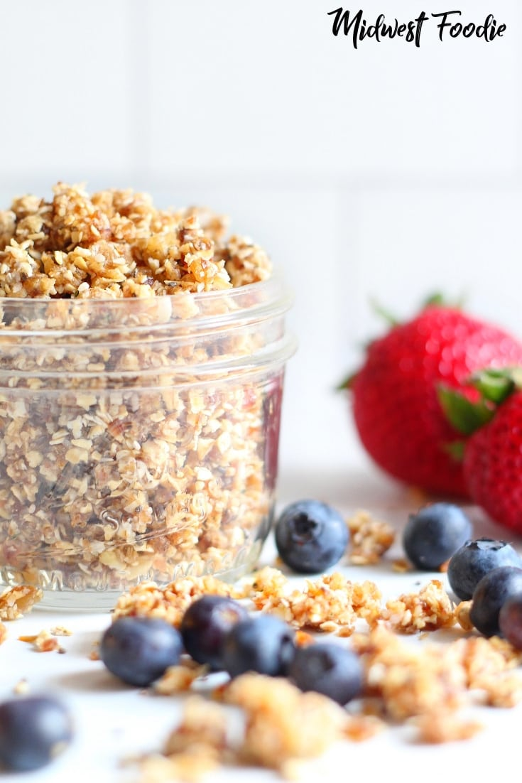 5 Minute Vegan Rawnola | Midwest Foodie | Not just for vegans!! This raw take on classic granola is the perfect healthy breakfast to fuel you through a busy morning! #vegan #recipe #healthy #granola #rawnola #breakfast #brunch #oats #oatmeal #cereal #coconut