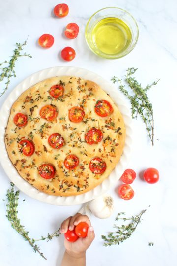 Garlic, Thyme and Tomato Focaccia Bread