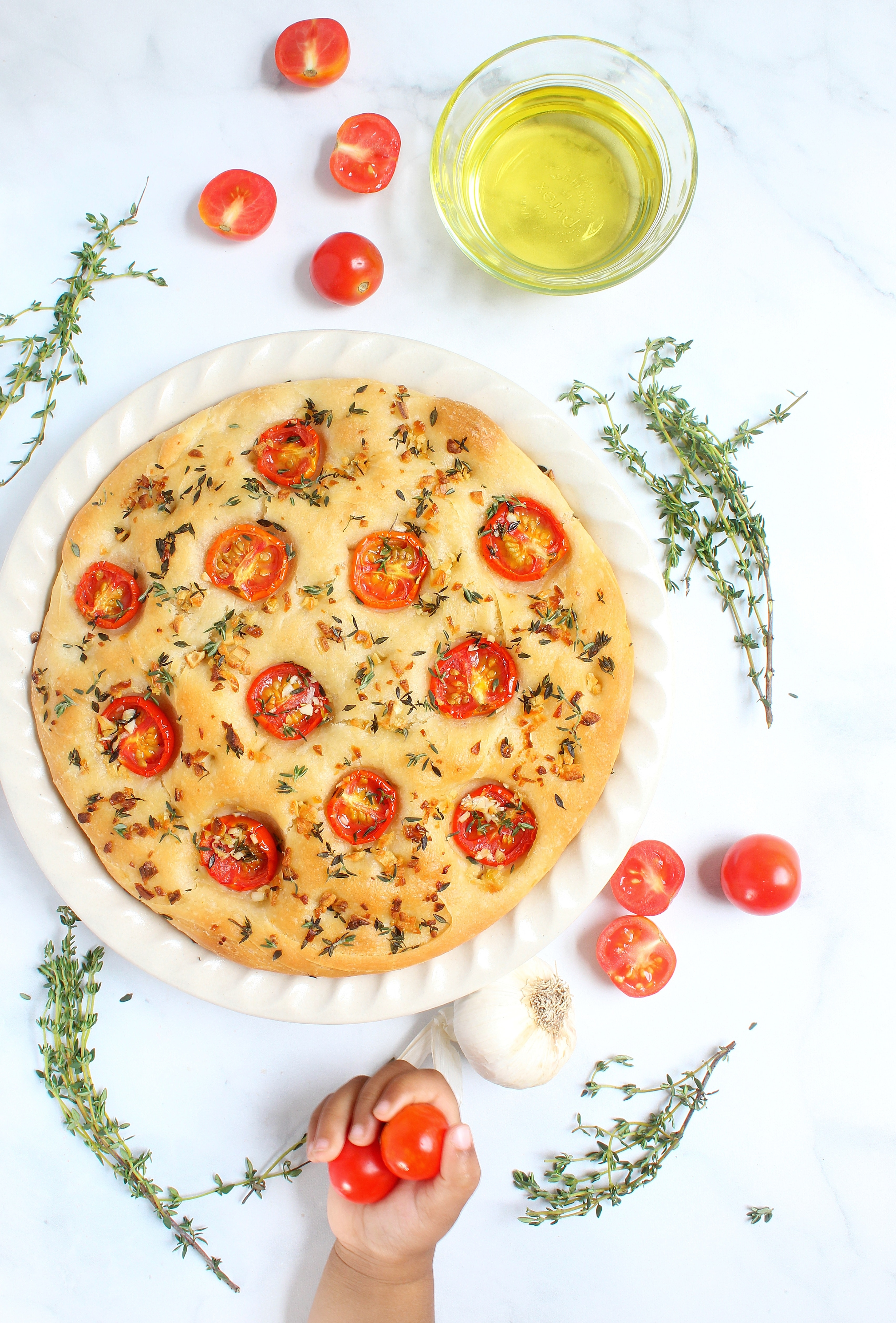 Garlic, Thyme and Tomato Focaccia Bread