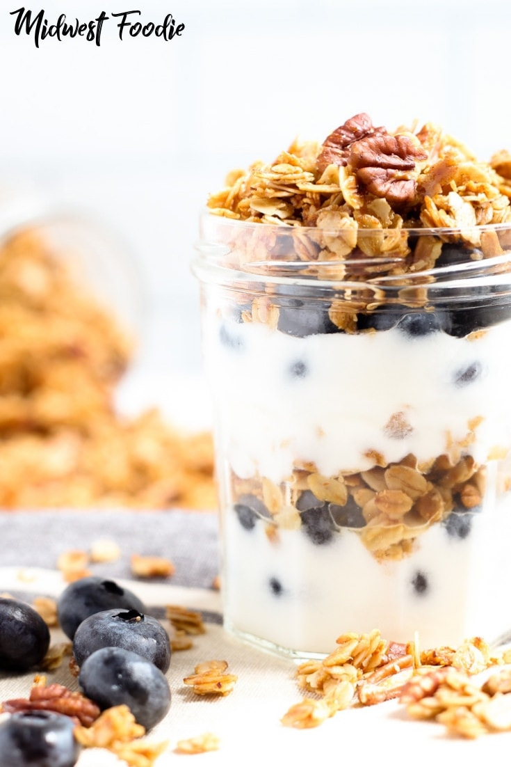 Vegan Maple Pecan Granola | Midwest Foodie | Naturally sweetened with maple syrup, this vegan granola is the perfect healthy breakfast for those busy, on-the-go mornings. It will fill you up and fuel you through to lunchtime! #midwestfoodie #healthy #breakfast #brunch #simple #quick #recipe