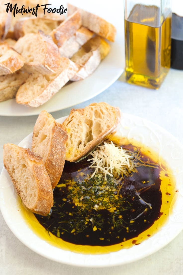 Olive Oil & Balsamic Vinegar Bread Dip | Midwest Foodie | Olive oil and balsamic vinegar combine with herbs and garlic for the easiest appetizer ever! Best enjoyed crusty French baguette and a big glass of red wine! #simple #easy #recipe #appetizer #partyfood
