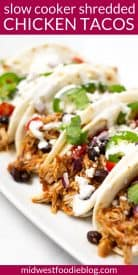 Pinterest pin of shredded chicken tacos