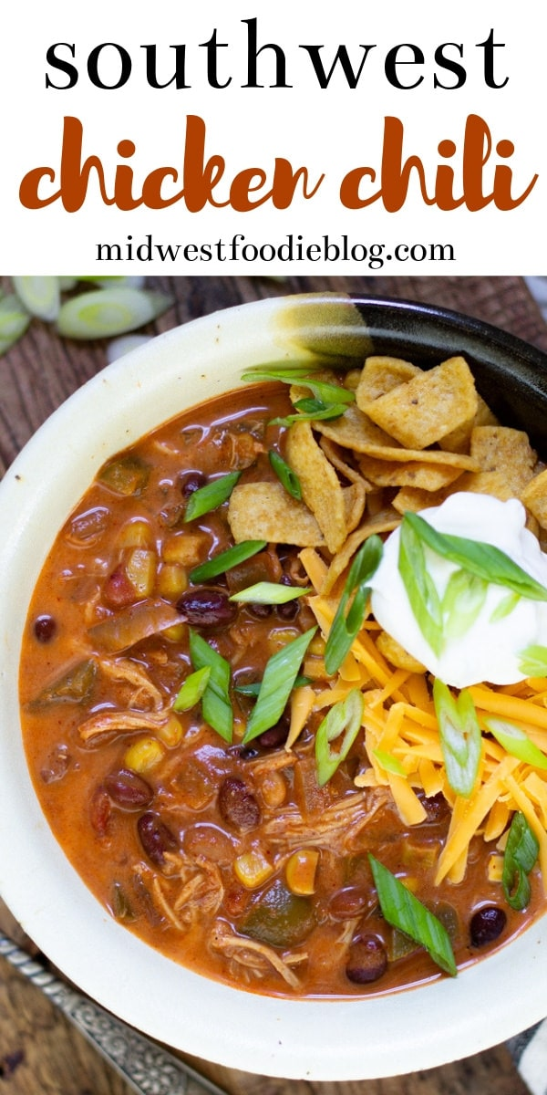 Chipotle Chicken Enchilada Southwest Chili | Midwest Foodie | This is one of my family's favorites. We make it often and it never lasts long because it's so darn good! As with most crock pot recipes, the prep time is really very minimal and the slow cooker does all the work. #midwestfoodie