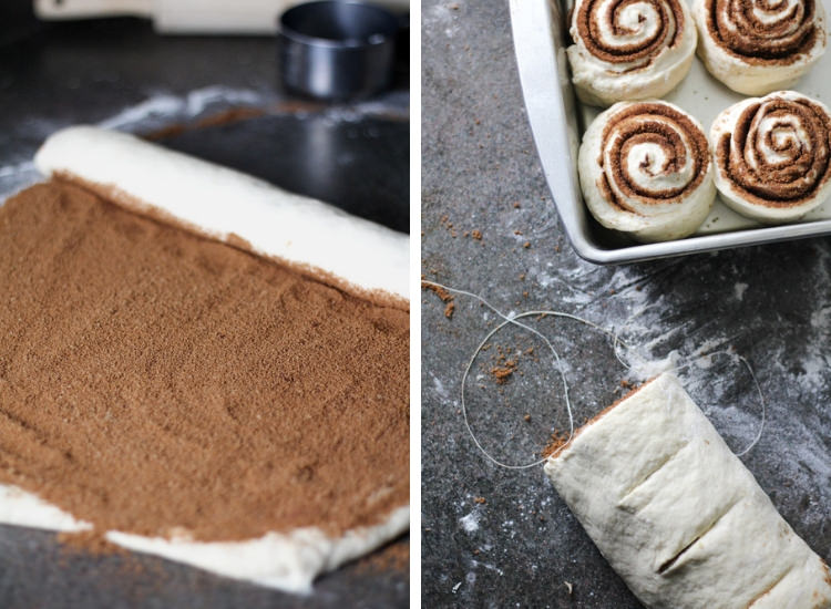 Step 1 rolling up cinnamon and sugar into a log of cinnamon roll dough