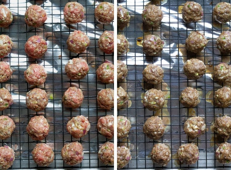 Step 3 Raw meatballs on baking sheet Step 4 Cooked meatballs on baking sheet