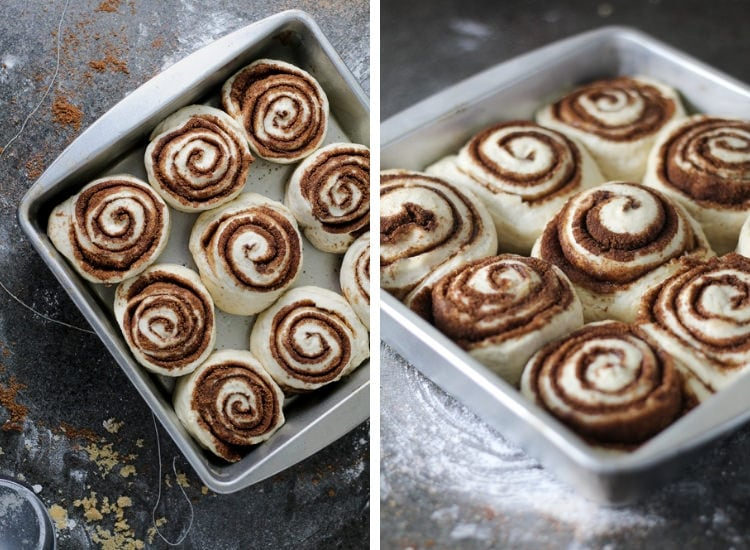 Fresh sliced cinnamon rolls in a baking dish risen and ready to go in the oven