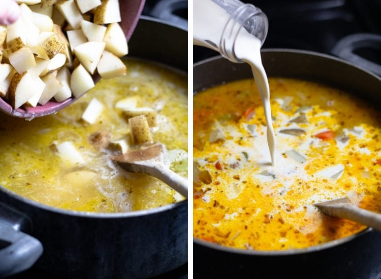 Two pictures of a pot of soup being potatoes and cream being added