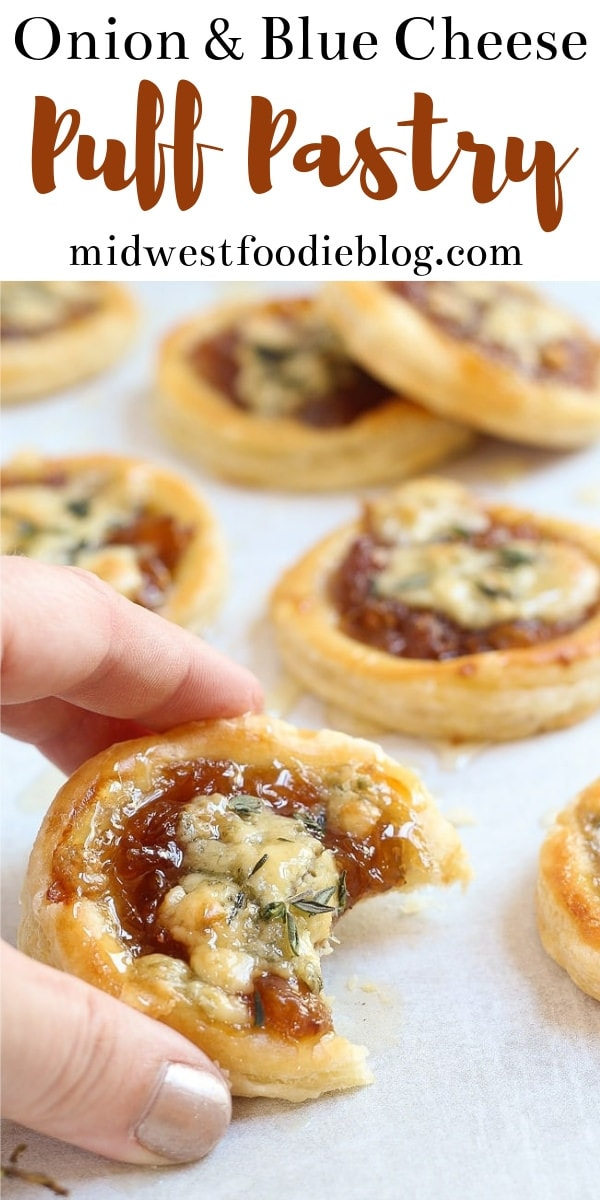 Caramelized Onion & Blue Cheese Puff Pastry Tarts   Midwest Foodie   These tarts are as elegant as they are delicious.  #midwestfoodie #partyfood #appetizer