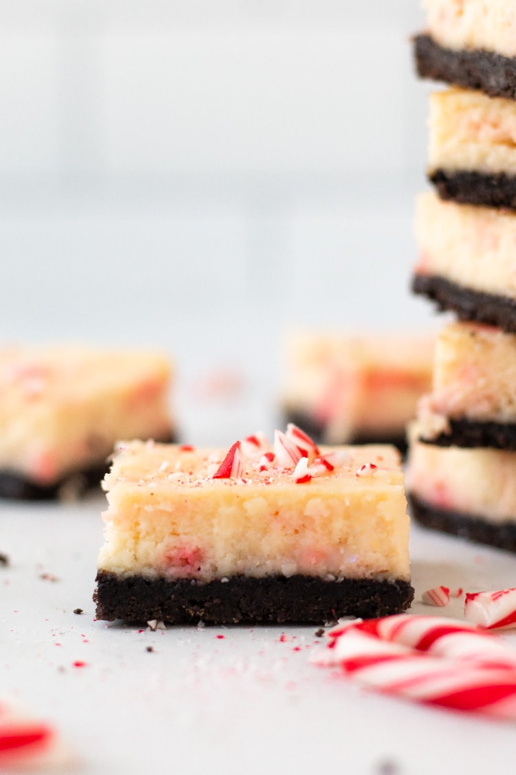 Straight on side shot of a peppermint cheesecake bar