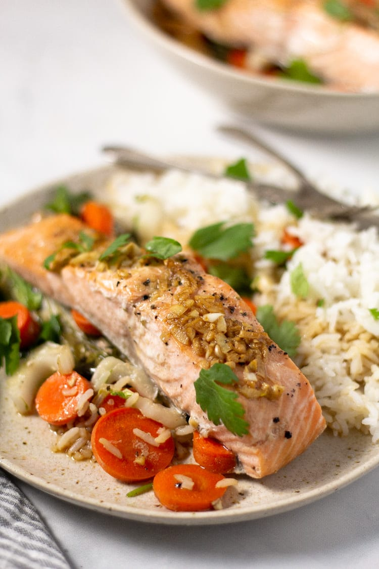 Close up shot of parchment baked salmon with veggies and white rice