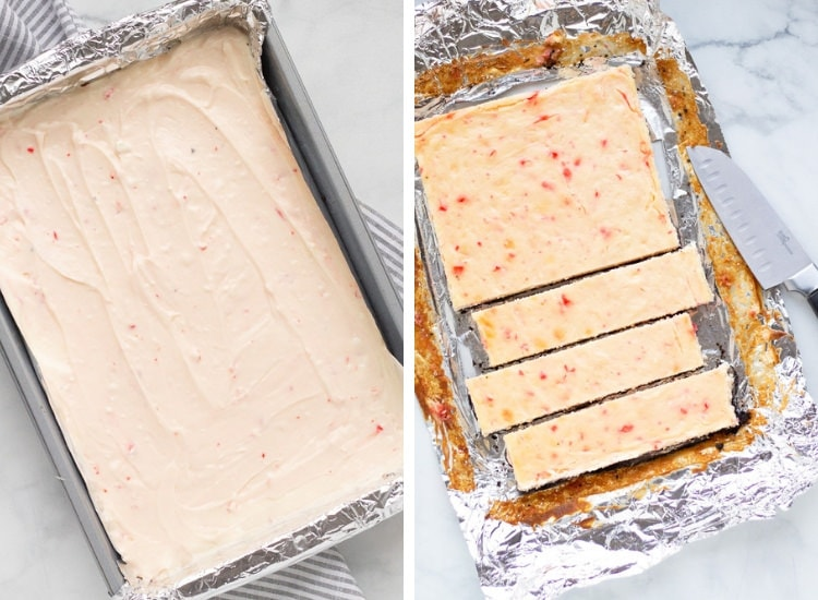A pan of cheesecake before the oven and then after the oven being sliced into bars