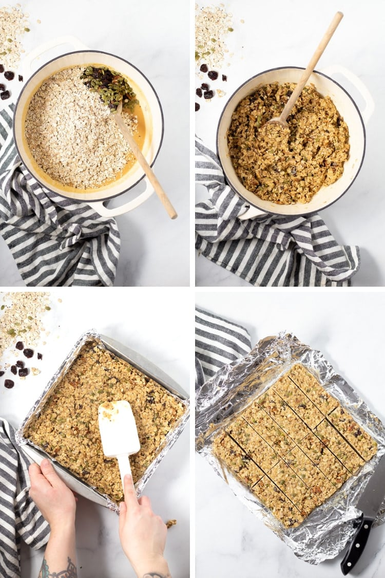 Collage of 4 photos of mixing the granola bar ingredients in the pot, pressing them into the pan and then slicing the bars with a knife