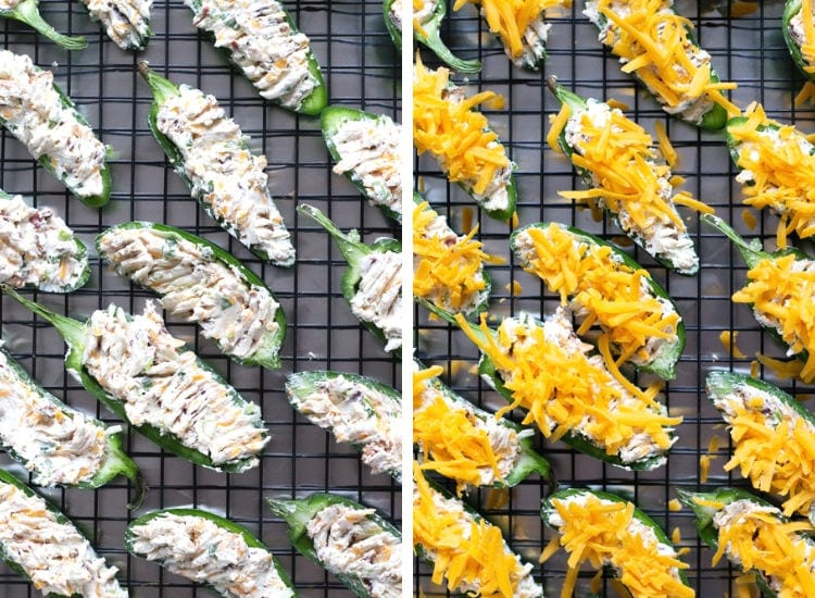 A collage of two photos showing the jalapeno poppers stuffed with filling and the second photo showing them sprinkled with cheddar cheese