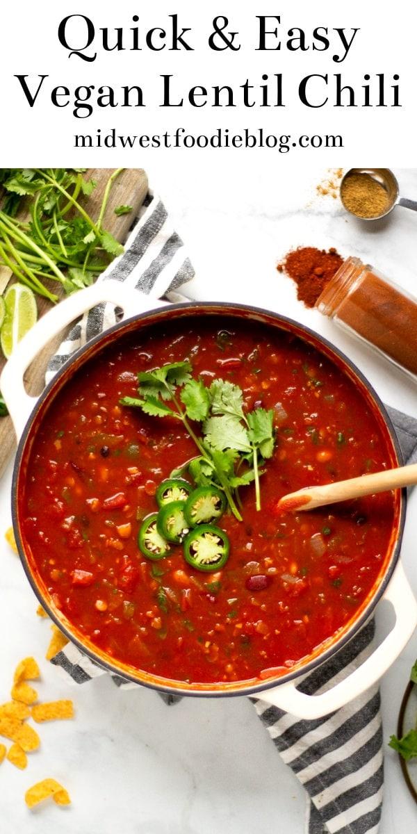 Vegan Lentil Chili | Midwest Foodie