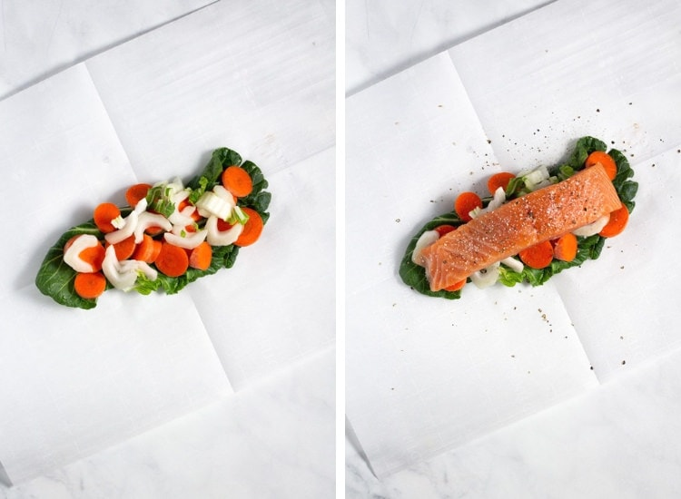 Collage of two images showing veggies in the center of parchment paper, and then a filet of salmon placed on top of the veggies