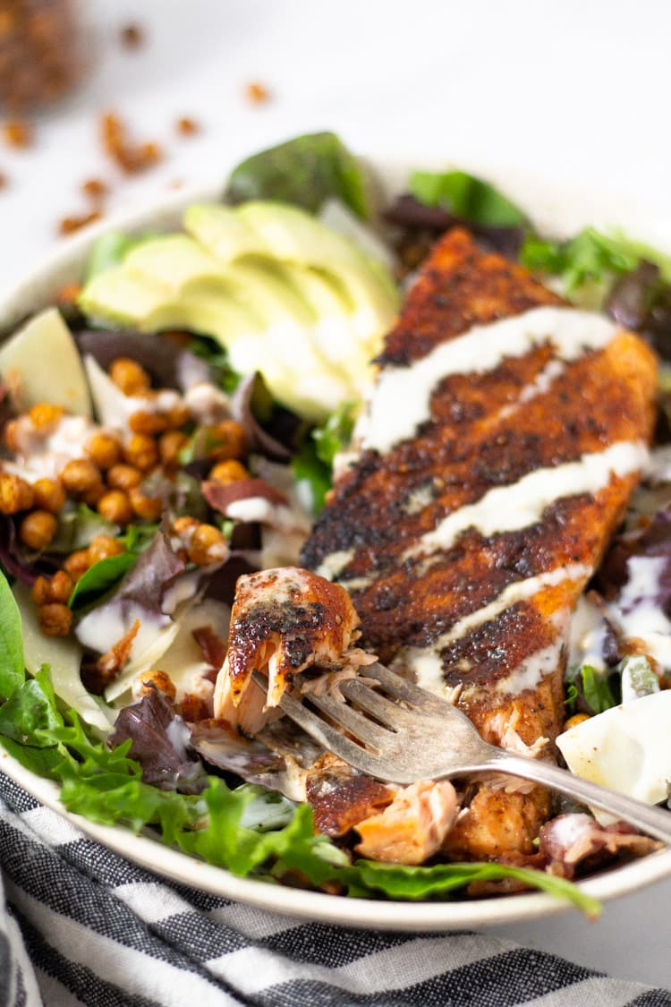 Caesar salmon salad with avocado and roasted chickpeas