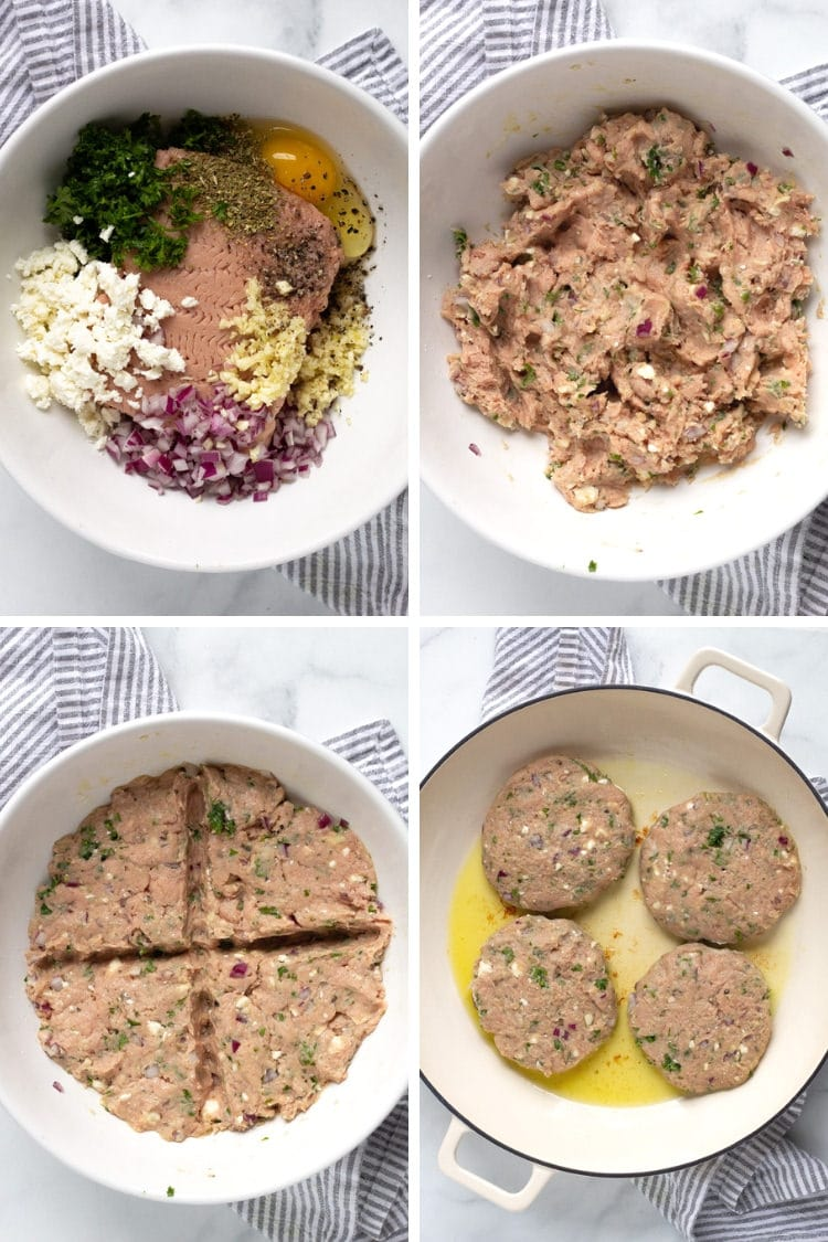 Collage of four photos showing the turkey burger ingredients in a white bowl, the ingredients mixed up, the ingredients divided into four sections and four burger patties in a pan cooking