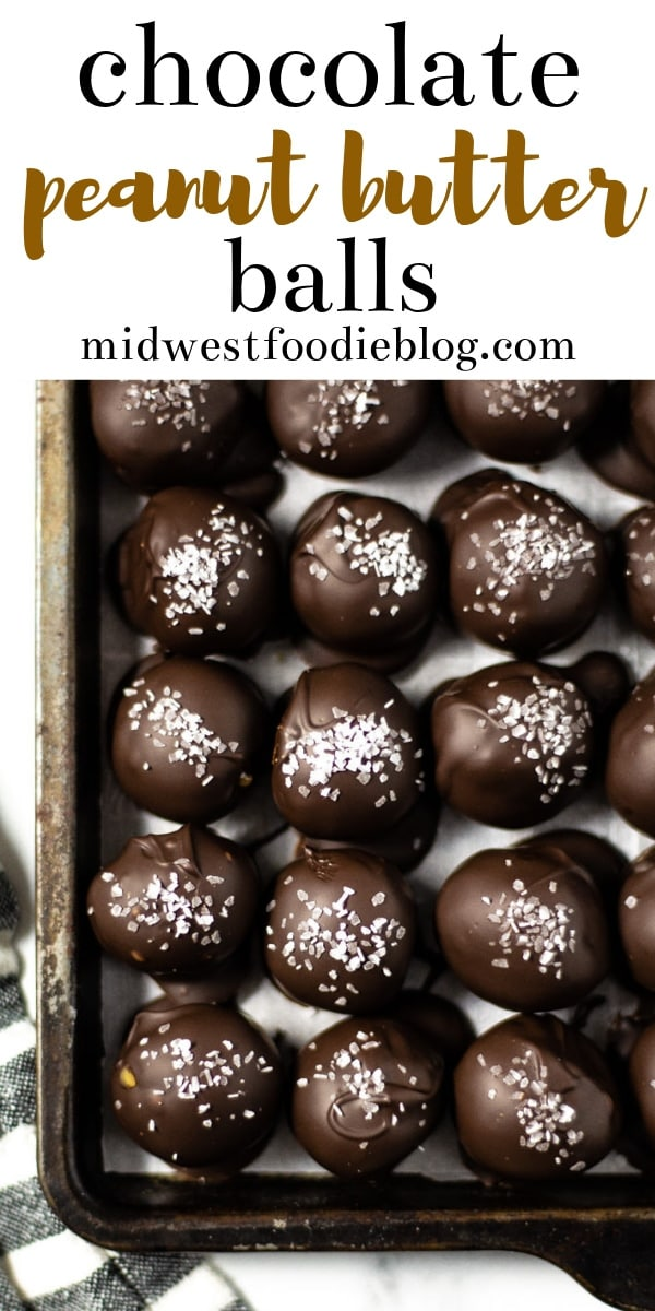 Chocolate Covered Peanut Butter Balls | Midwest Foodie | With only 5 ingredients and no baking required, these peanut butter balls might be the easiest, healthy dessert you've ever made!