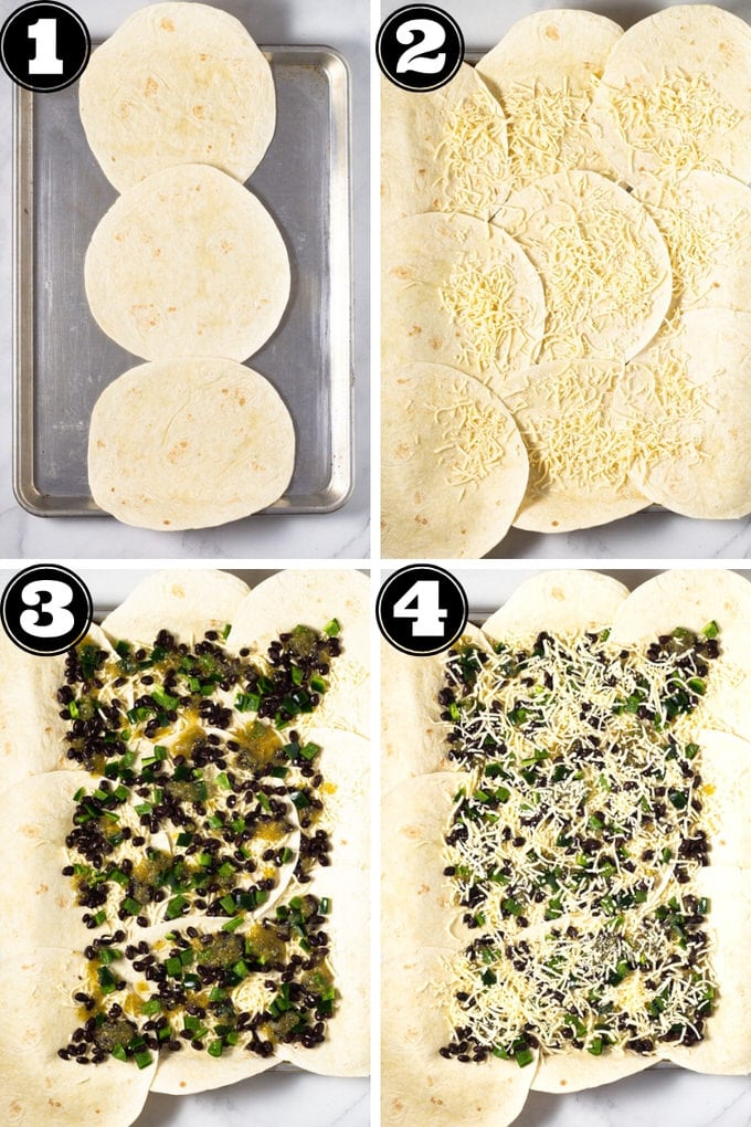 Collage of photos showing how to make quesadillas