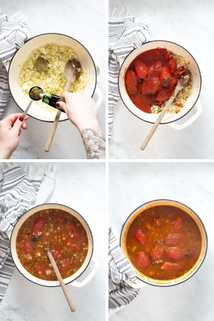 Collage of 4 photos, the first photo showing onion oregano and pesto in a large pot. The second photo showing tomatoes added to the pot. The third photo showing soup after vegetable broth is added. The fourth photo showing the tomato soup after it's been simmered.