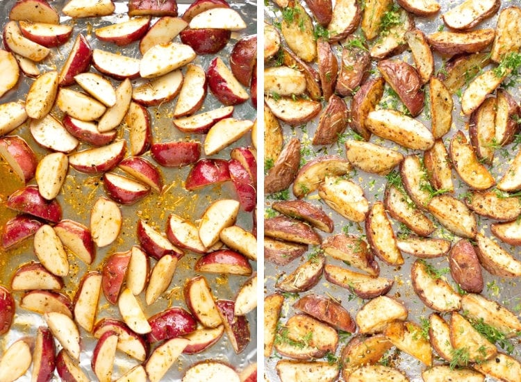 Collage of two photos, the first an overhead shot of potato wedges laid on sheet pan before being baked and the second of the potato wedges after being baked
