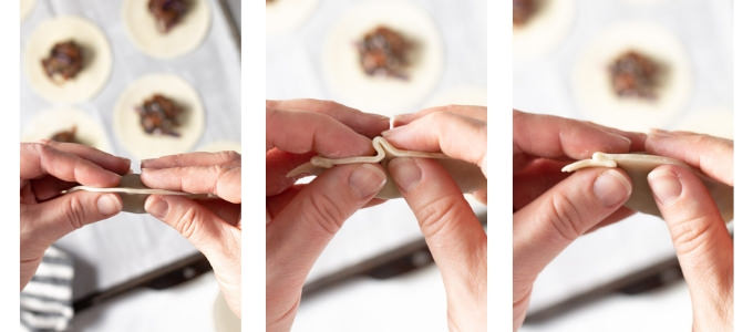 Collage of photos showing how to make vegan dumplings