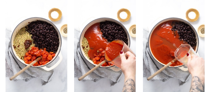 Collage of photos showing how to make black bean chili