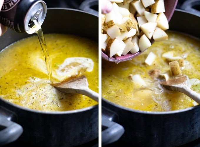 Collage of photos showing how to make sausage and potato beer cheese soup