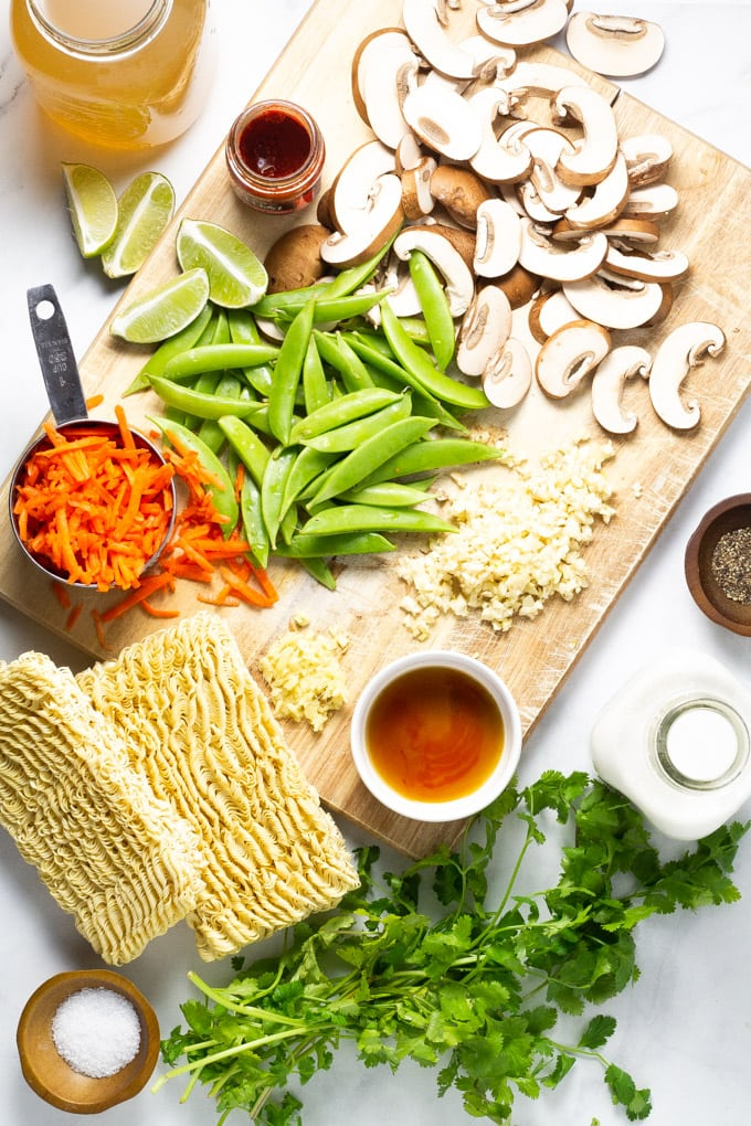 Ingredients used to make vegan curry ramen