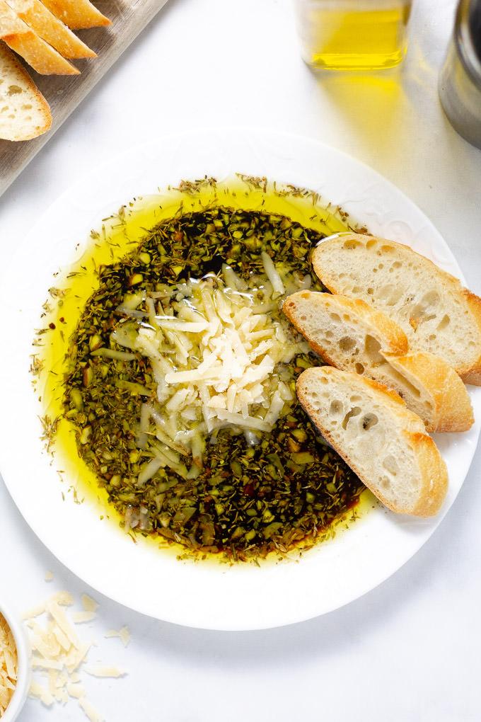 Overhead shot of olive oil and balsamic vinegar bread dip