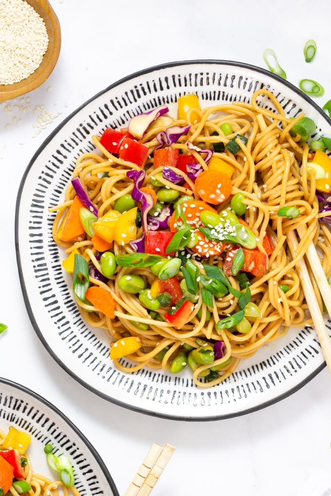 Plate filled with vegan sesame ginger pasta salad