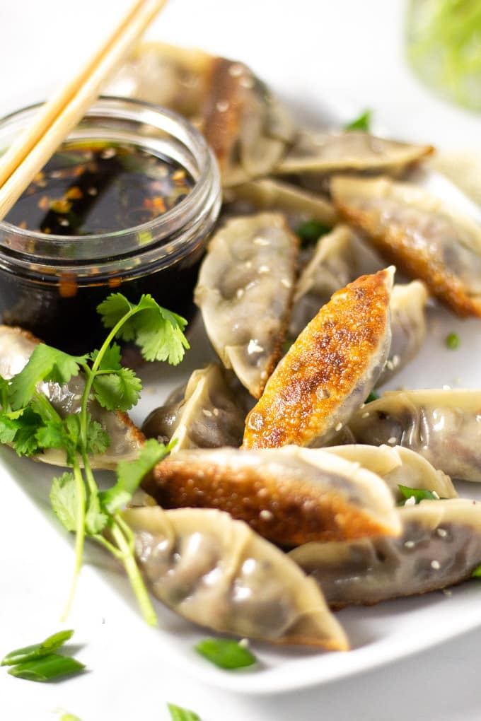 Close up shot of vegan dumplings with soy sauce