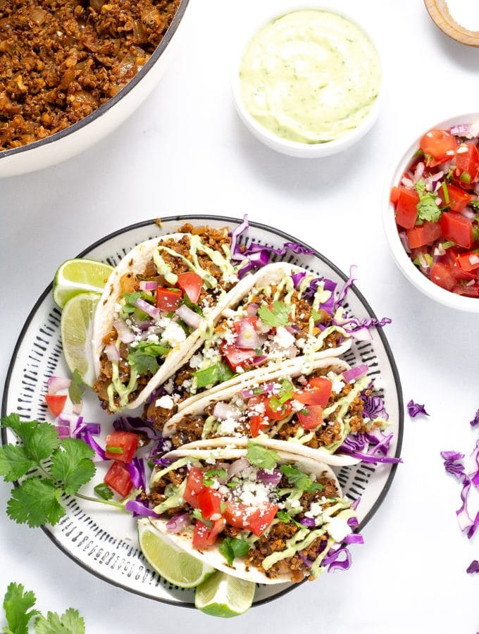 Overhead shot of a plate filled with vegan tacos