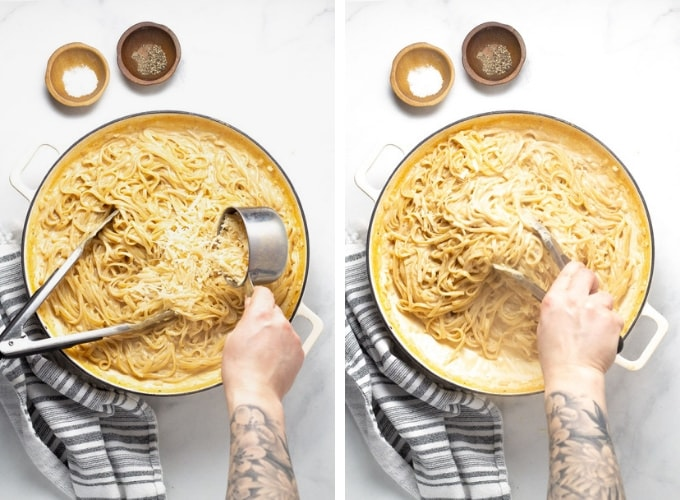 Collage of photos showing how to make one pot alfredo