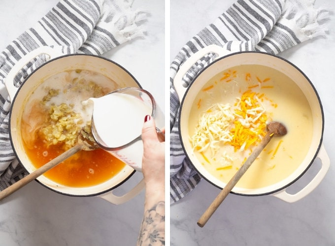 Collage of photos showing how to make broccoli cheese soup