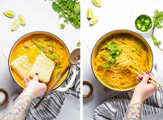 Collage of photos showing how to make vegan curry ramen