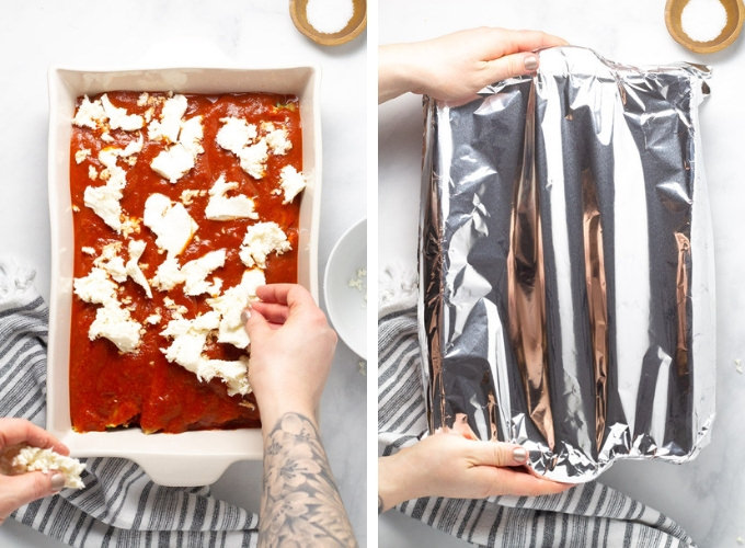 Collage of photos showing how to make manicotti