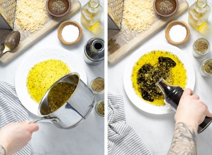 Collage of photos showing how to make olive oil and balsamic vinegar bread dip
