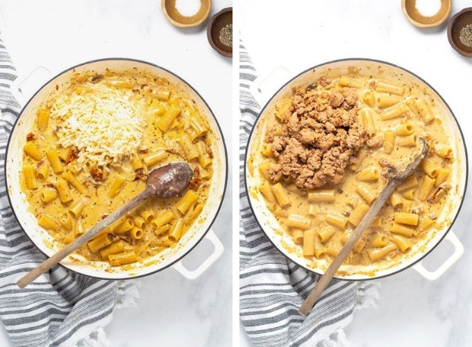 Collage of photos showing how to make one pot sausage rigatoni