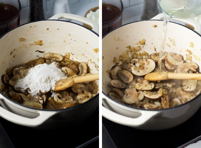 Collage of photos showing to make short ribs stroganoff