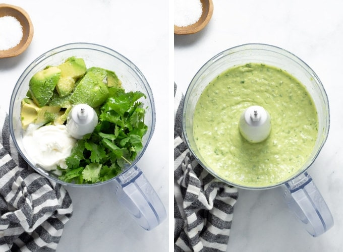 Collage of photos showing how to make avocado cilantro lime sauce for vegan tacos